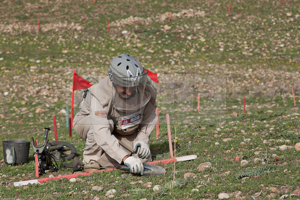 © Licensed to London News Pictures. 03/04/2013. London, UK. UN International Mine Awareness Day [FILE PHOTO NOT FOR ONLINE USE].  A Mines Advisory Group deminer member scrapes away soil with a trowel after picking up a contact on his mine detector in a minefield near Khalo Bazany Village, Kirkuk, Iraq.  Laid by Iraqi forces in 1987 to stop Kurdish Peshmerga using the area as a route to attack Kirkuk deminers have found a total of 38 mines so far, once cleared the area will be used by local villagers to graze livestock. Photo credit: Matt Cetti-Roberts/LNP