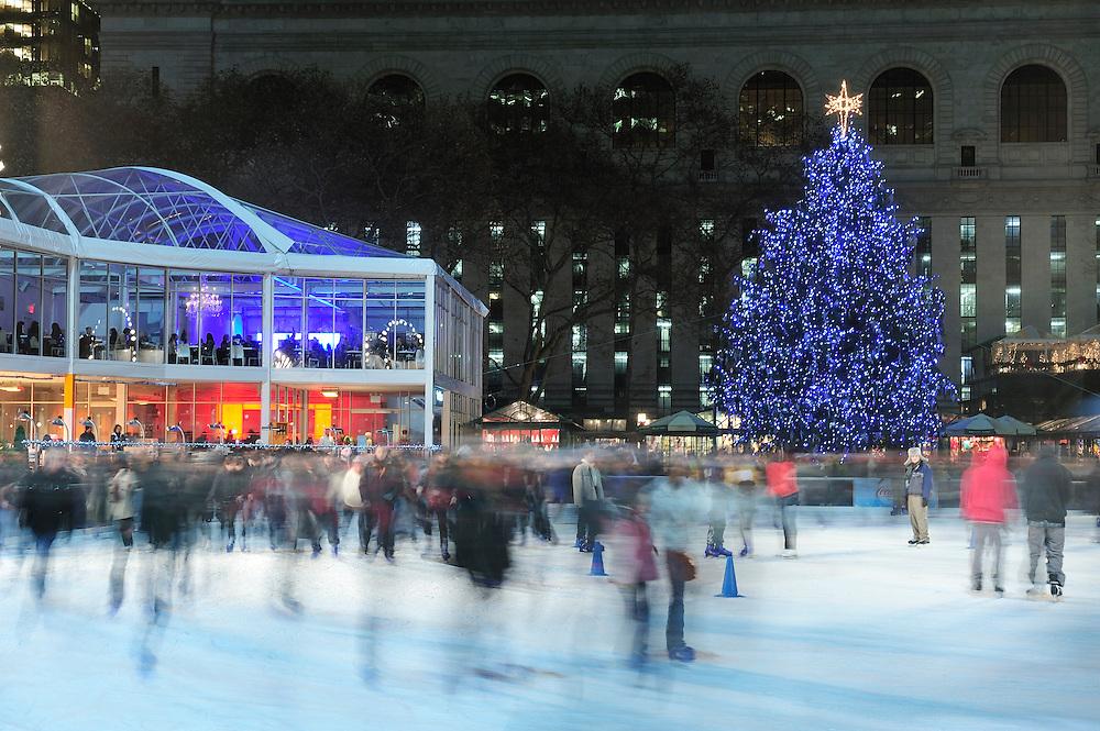 Ice Rink, Bryant Park,Manhattan,New York,USA..