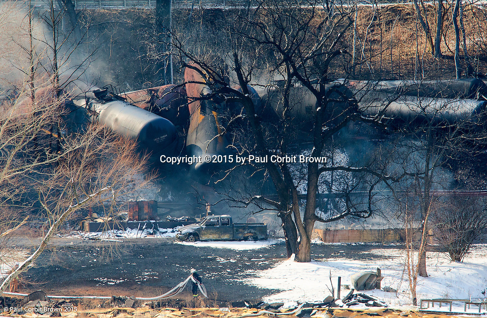 Aftermath of derailment of a train hauling 107 tankers (3 million gallons) of Bracken crude oil.