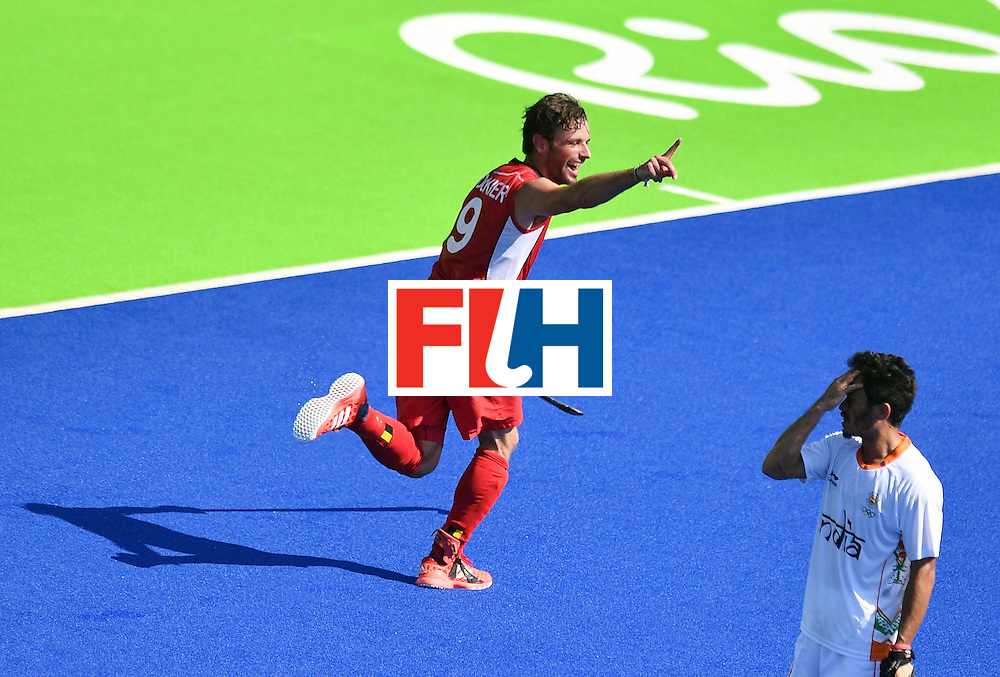 Belgium's Sebastien Dockier (L) celebrates a goal during the men's quarterfinal field hockey Belgium vs India match of the Rio 2016 Olympics Games at the Olympic Hockey Centre in Rio de Janeiro on August 14, 2016. / AFP / Carl DE SOUZA        (Photo credit should read CARL DE SOUZA/AFP/Getty Images)