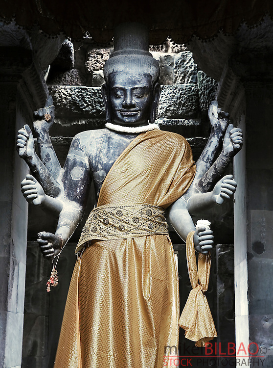 Buddhist statue in Angkor Wat temple. Cambodia, Asia