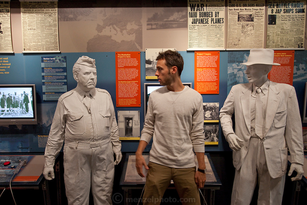 Evan Menzel at the Bradbury Science Museum, Los Alamos, NM. Displays of Manhatten Project that developed the world's first atomic bombs during WWII. MODEL RELEASED.