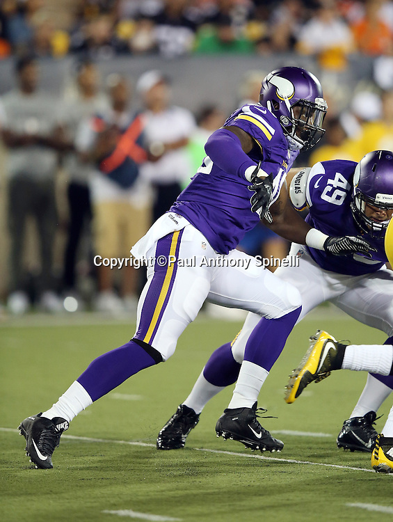 Minnesota Vikings outside linebacker Edmond Robinson (40) chases the action during the 2015 NFL Pro Football Hall of Fame preseason football game against the Pittsburgh Steelers on Sunday, Aug. 9, 2015 in Canton, Ohio. The Vikings won the game 14-3. (©Paul Anthony Spinelli)