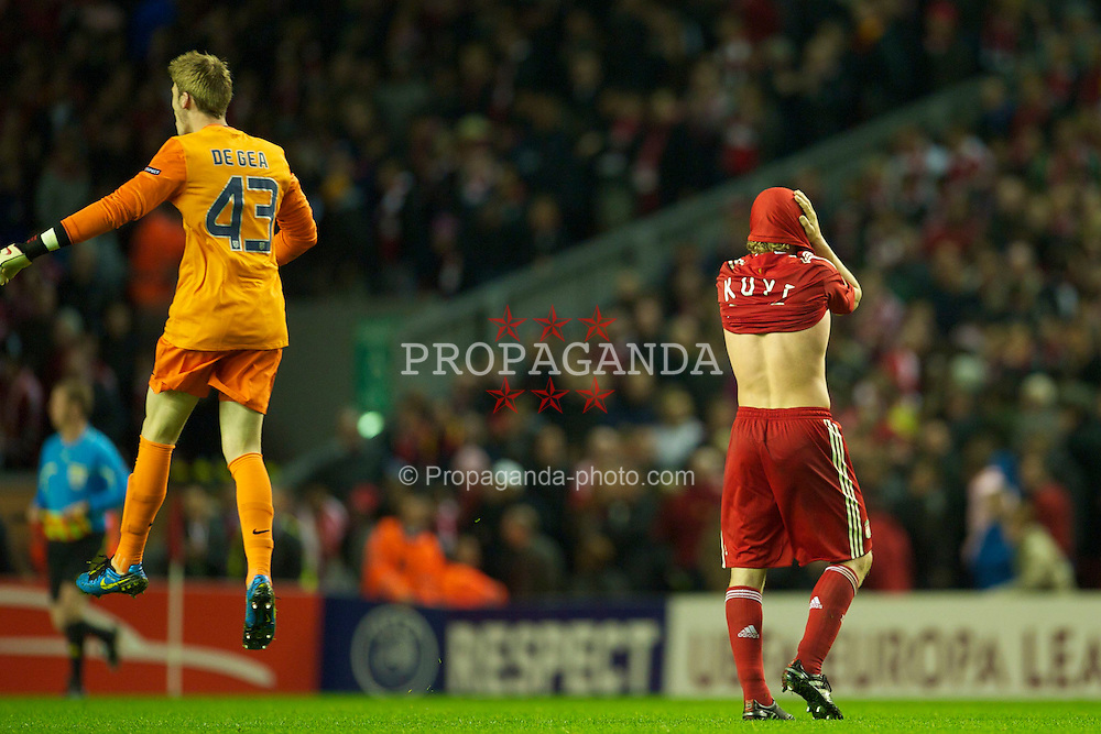 LIVERPOOL, ENGLAND - Thursday, April 29, 2010: Liverpool's Dirk Kuyt looks dejected after his side are knocked out of the UEFA Europa League by the away goals rule after winning 2-1 on the night (2-2 agg) Semi-Final 2nd Leg match at Anfield. (Photo by: David Rawcliffe/Propaganda)