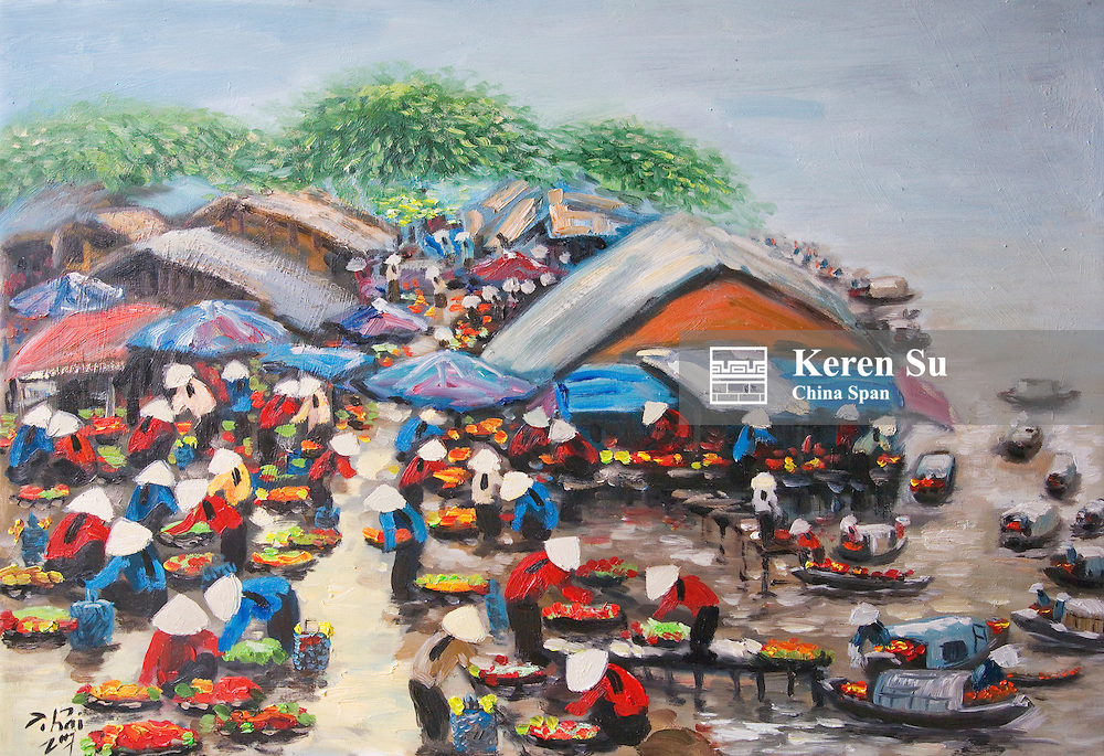 Painting depicting floating market.