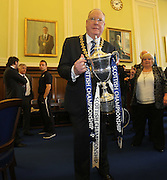 Lord Provost Bob Duncan with the trophy - Dundee FC civic reception at Dundee City Chambers<br /> <br />  - &copy; David Young - www.davidyoungphoto.co.uk - email: davidyoungphoto@gmail.com