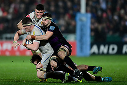 Jacques Vermeulen of Exeter Chiefs is tackled by Lewis Ludlow of Gloucester Rugby - Mandatory by-line: Ryan Hiscott/JMP - 14/02/2020 - RUGBY - Kingsholm - Gloucester, England - Gloucester Rugby v Exeter Chiefs - Gallagher Premiership