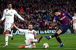 6 th, February  2019, Camp Nou, Barcelona, Spain. ..Copa del Rey, partido entre el FC Barcelona y el R.Madrid...Aleñá (21) dispara a puerta ante (02) Carvajal (defensa) y (05) Varane (defensa)...El partido ha finalizado 1-1 con goles de (17) Lucas Vázquez y Malcom (14)...© Joan Gosa 2019/Xinhua 2019. (Credit Image: © Joan Gosa/Xinhua via ZUMA Wire)
