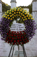 Gubbio 15 MAY 2004..Festival of the Ceri..All the hierarchy of ceraioli go in procession to the local cemetery along with the mayor and other authorities of the town to lay a wreath of flowers in memory of dead ceraioli.....http://www.ceri.it/ceri_eng/index.htm..