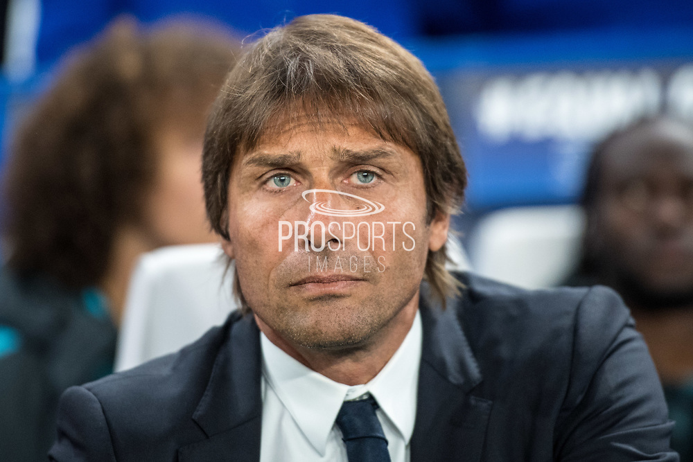Chelsea manager Antonio Conte during the Champions League match between Chelsea and FK QARABAG at Stamford Bridge, London, England on 12 September 2017. Photo by Sebastian Frej.