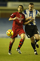 Photo: Aidan Ellis.<br /> Sheffield Wednesday v Cardiff City. Coca Cola Championship. 25/11/2006.<br /> Cardiff's Michael Chopra (L) and Wednesday's Graham Coughlan