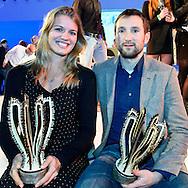 Uitreiking Sportprijs Utrecht 2014 at Jaarbeurs Utrecht: (L-R) Sportvrouw van het jaar 2014 uit Utrecht Dafne Schippers, sportman van het jaar 2014 uit Utrecht Niels Kerstholt