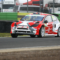 Fan favorite Kevin Proctor on his way to third place over all in the supercars. First round of the British Rallycross Championship held at Croft Circuit. (c) Matt Bristow | SportPix.org.uk