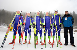 Vid Voncina, Peter Dokl, Janez Maric, Klemen Bauer, Vasja Rupnik and Uros Velepec of Slovenian men biathlon team before new season 2009/2010,  on November 16, 2009, in Pokljuka, Slovenia.   (Photo by Vid Ponikvar / Sportida)