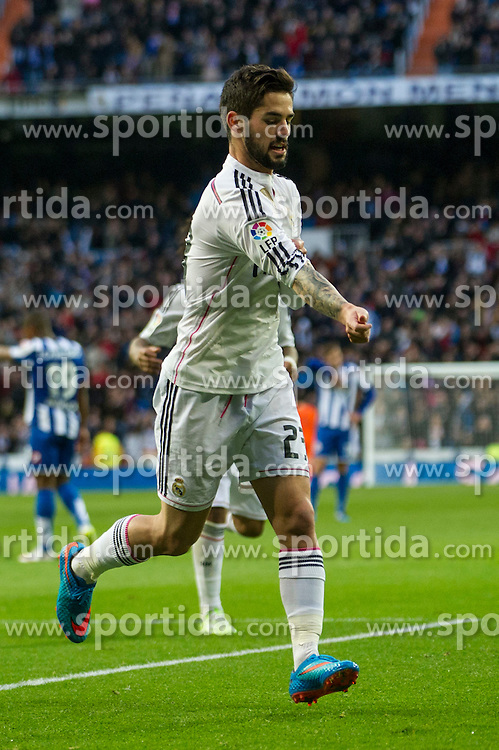 14.02.2015, Estadio Santiago Bernabeu, Madrid, ESP, Primera Division, Real Madrid vs Deportivo La Coruna, 23. Runde, im Bild Real Madrid&acute;s Isco celebrates a goal // during the Spanish Primera Division 23rd round match between Real Madrid vs Deportivo La Coruna at the Estadio Santiago Bernabeu in Madrid, Spain on 2015/02/14. EXPA Pictures &copy; 2015, PhotoCredit: EXPA/ Alterphotos/ Luis Fernandez<br /> <br /> *****ATTENTION - OUT of ESP, SUI*****