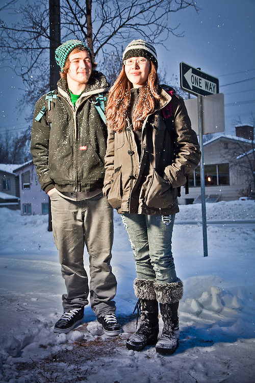 West High School students, Dakota Herrine and Tristen Hazen, E Street at 13th Avenue, South Addition, Anchorage
