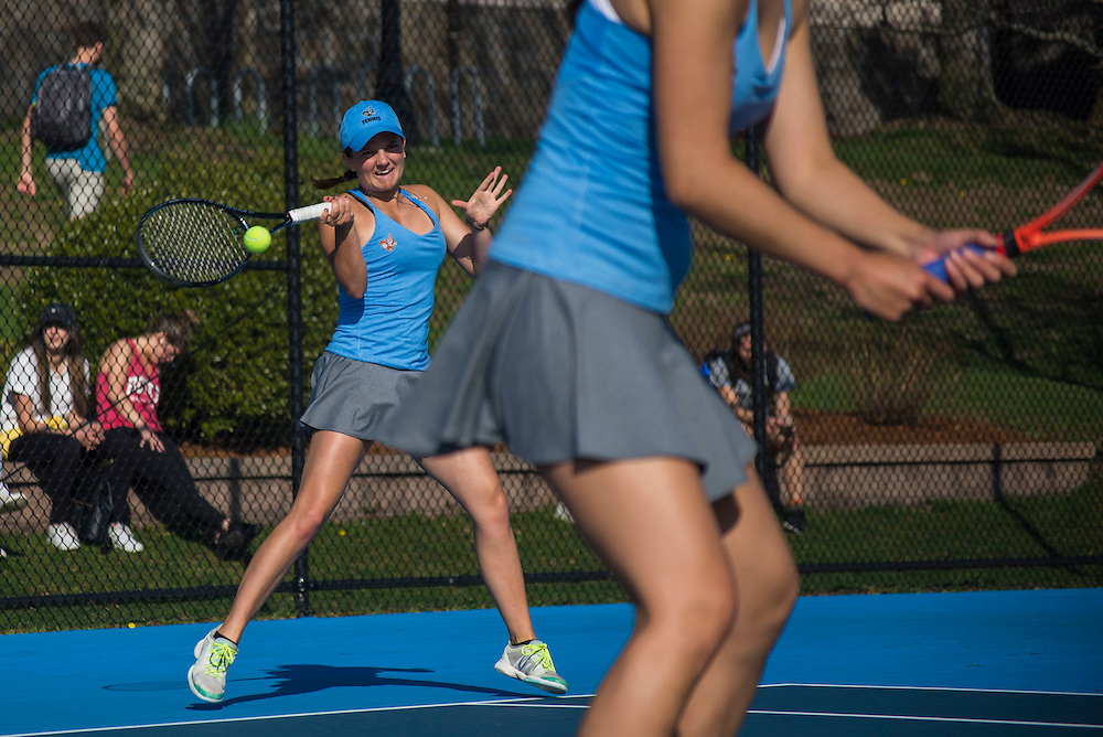 4/1/16 - Medford/Somerville, MA - Zoe Miller hits the ball during the Tufts women's tennis matches against Colby on the Voute Tennis Courts on Apr 1, 2016. (Ray Bernoff / The Tufts Daily)