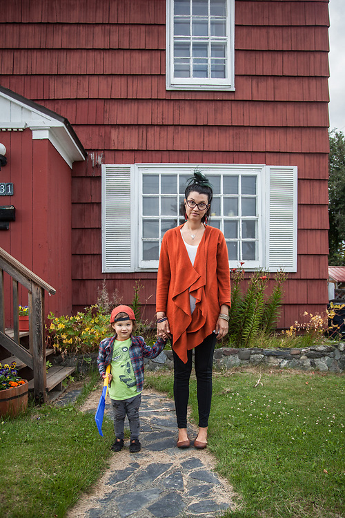 Keegan Richards with her two year old son, Gustav, in front of their home in Anchorage's South Addition neighborhood  keegan.richards@gmail.com