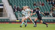 Twickenham, United Kingdom.  Alice MIDDLETON supported by Emily MCNALLY fend of Emily STONE during the 2015 Women's Varsity Match, Oxford vs Cambridge, RFU Twickenham Stadium, England.<br /> <br /> Thursday  10/12/2015<br /> <br /> [Mandatory Credit. Peter SPURRIER/Intersport Images].