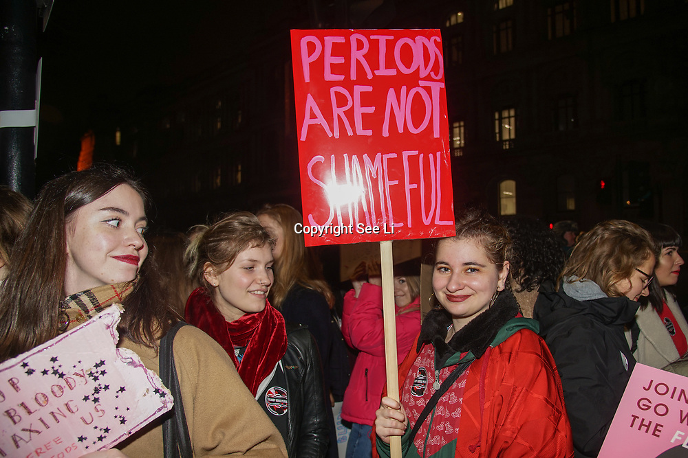 London, UK, 20th Dec 2017. Celebrities and MPs join protests calling upon the government to provide free sanitary products to every girl in the UK who receives free school meals at Richmond Terrace, London, UK.