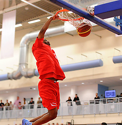 Bristol Flyers' Chris Bourne slam dunks in warm up  - Photo mandatory by-line: Joe Meredith/JMP - Mobile: 07966 386802 - 18/04/2015 - SPORT - Basketball - Bristol - SGS Wise Campus - Bristol Flyers v Leeds Force - British Basketball League