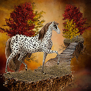 Colorful surreal image of a spotted horse on a floating piece of earth connected by a wooden bridge to another floating piece of earth with trees against a warm background of red, yellow and orange