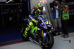 September 23, 2017 - Alcaiz, Spain - Italian rider Valentino Rossi of Movistar Yamaha MotoGP go out of his box wit his Yamaha during the Gran Premio Movistar de Aragon Qualifying on September 23, 2017 in Alcaiz, Spain. (Credit Image: © Joan Cros/NurPhoto via ZUMA Press)