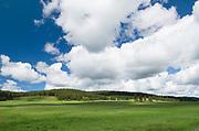 Puffy clouds above green hillside, Wallowa Valley, Oregon