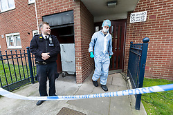© Licensed to London News Pictures. 29/04/2019. London, UK.  Police and forensic officers outside a block of flats in Vandome Close in Newham, east London. A murder investigation has been launched after two females were found dead on Friday 26th April at a residential address in Vandome Close. Photo credit: Vickie Flores/LNP