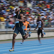 Lashawn Merritt, USA, winning the Men's 400m race during the Diamond League Adidas Grand Prix at Icahn Stadium, Randall's Island, Manhattan, New York, USA. 14th June 2014. Photo Tim Clayton