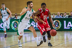 Dusan Katnic of KK Krka Novo mesto vs Ceola Clark of KK Tajfun Sentjur during basketball match between KK Krka Novo mesto and KK Tajfun Sentjur at Superpokal 2015, on September 26, 2015 in SKofja Loka, Poden Sports hall, Slovenia. Photo by Grega Valancic / Sportida.com