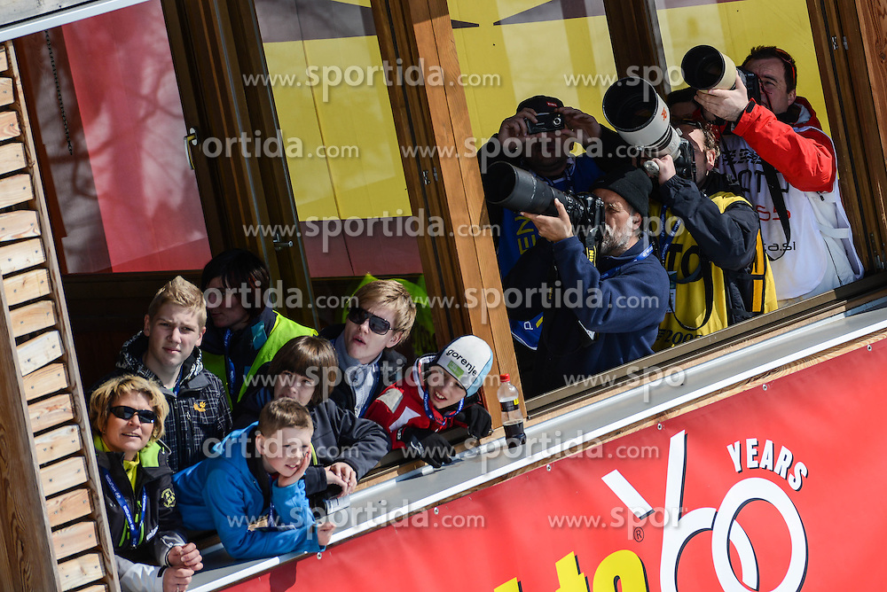Photographers and spectators during the Flying Hill Team Event at 3rd day of FIS Ski Jumping World Cup Finals Planica 2013, on March 23, 2013, in Planica, Slovenia (Photo by Grega Valancic / Sportida.com)