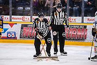 2019-11-22 | Rauma, Finland : Linesmen cleanig blood of ice during the game between Lukko-Kärpät in Kivikylän Areena ( Photo by: Elmeri Elo | Swe Press Photo )