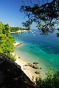 Elevated view of beach Zlatni Rat, near Bol, island of Brac, Croatia