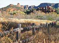 Wooden fence line outside Sedona Arizona