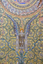 Detail of ornate mosaic on roof of Kaiser Wilhelm memorial church (Gedachtniskirche) interior on Kurfurstendamm, Berlin, Germany