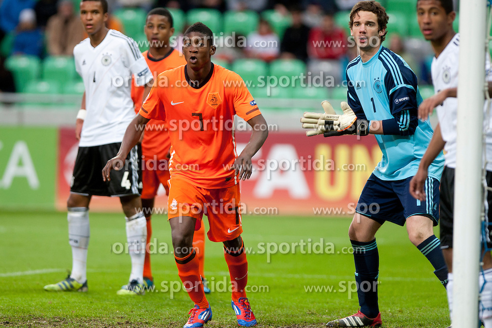 Elton Acolatse of Netherlands and Oliver Schnitzler of Germany during the UEFA European Under-17 Championship Final match between Germany and Netherlands on May 16, 2012 in SRC Stozice, Ljubljana, Slovenia. (Photo by Urban Urbanc / Sportida.com)