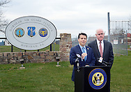 From left, Congressman Brendan F. Boyle (D-PA) speaks with the media as Congressman Patrick Meehan (R-PA)  stands alone side him at the podium during a joint press conference to call upon the EPA to do more to protect area residents from contaminated drinking water Monday, April 11, 2016 at Horsham Air Guard Station in Horsham, Pennsylvania.  (Photo by William Thomas Cain)