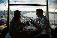 Seattle, Washington- October 1, 2014: The view from the observation deck of the Space Needle, at 520 feet above ground visitors enjoy unencumbered views of downtown, Elliott Bay and, on a clear day, Mt. Rainier. CREDIT: Chris Carmichael for the New York Times