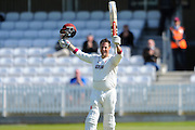 100 for Somerset's Marcus Trescothick - Somerset's Marcus Trescothick celebrates scoring a century during the Specsavers County Champ Div 1 match between Somerset County Cricket Club and Lancashire County Cricket Club at the County Ground, Taunton, United Kingdom on 4 May 2016. Photo by Graham Hunt.
