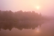 Reflection on Winnipeg River at sunrise with fog, Whiteshell Provincial Park, Manitoba, Canada
