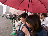 "April 30, 2019, Tokyo, Japan: This is the scene outside the gates of the Imperial Palace on the final day of the reigning Japanese Emperor Akihito. This was also the last day of Japan's Heisei Era which spanned from 1989 to April 30, 2019. Traditionally Japanese calendars years are based upon the years of emperor's reigns. The new era has been called 'Reiwa"" era which starts on May 1, 2019 when Crown Prince Naruhito ascends to the throne."
