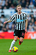 Sean Longstaff (#36) of Newcastle United on the ball during the Premier League match between Newcastle United and Huddersfield Town at St. James's Park, Newcastle, England on 23 February 2019.