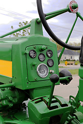 04 May 2013:   Arranged to coincide and be a part of the Red Corridor Route 66 festival, the village of Lexington hosts an antique tractor show.  Roger Whaley is the chairman of the organizing committee. 1957 Model 620 Row Crop John Deere, operator controls.