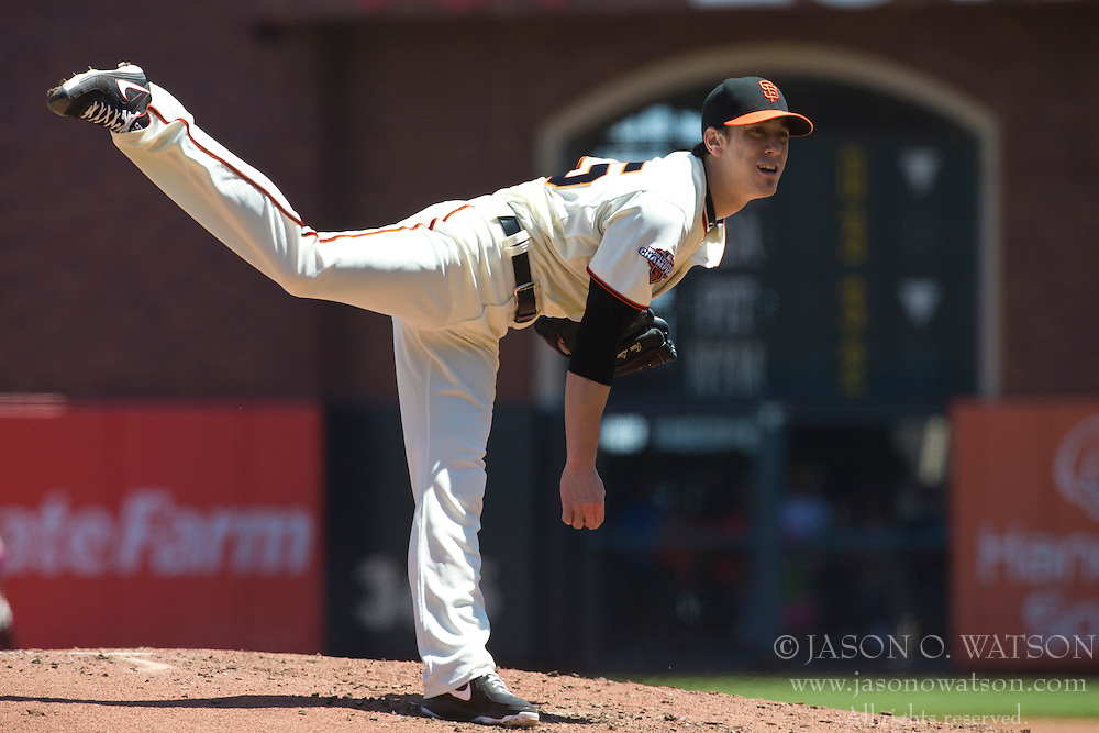SAN FRANCISCO, CA - MAY 12: Tim Lincecum #55 of the San Francisco Giants pitches against the Atlanta Braves during the second inning at AT&T Park on May 12, 2013 in San Francisco, California. The San Francisco Giants defeated the Atlanta Braves 5-1. (Photo by Jason O. Watson/Getty Images) *** Local Caption *** Tim Lincecum
