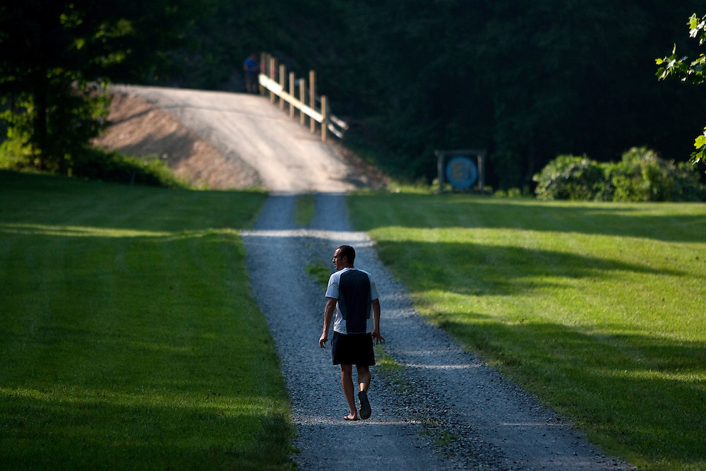 Ryan Warrenburg, a Zap Fitness elite athlete coordinator, heads home to his house just up the street from the training center in Blowing Rock after a long day. The house is also owned by Zap Fitness.