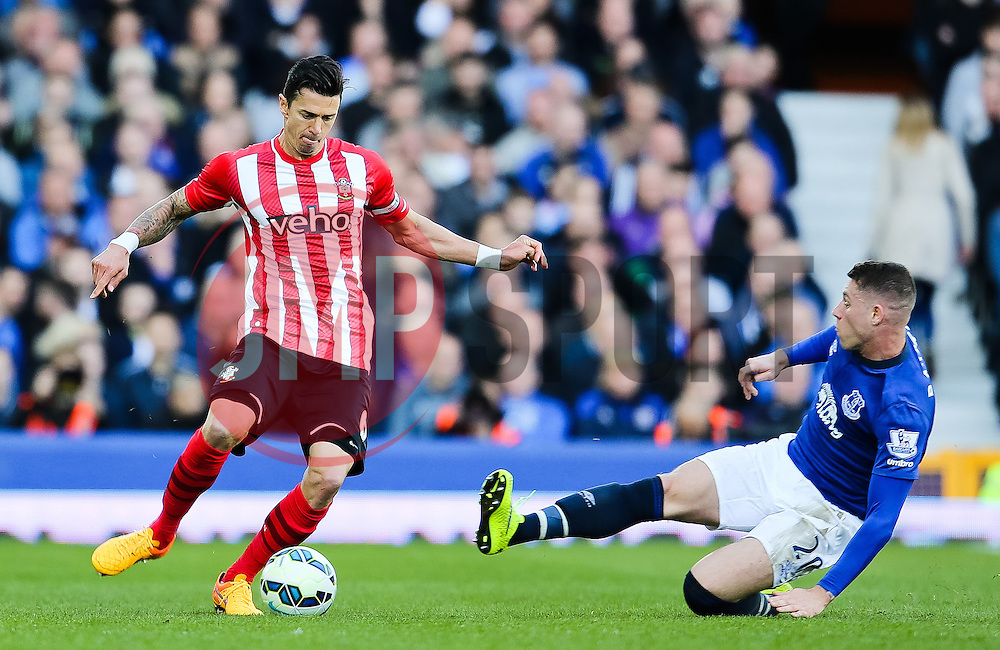 Everton's Ross Barkley slides in for a tackle on Southampton's Jose Fonte  - Photo mandatory by-line: Matt McNulty/JMP - Mobile: 07966 386802 - 04/04/2015 - SPORT - Football - Liverpool - Goodison Park - Everton v Southampton - Barclays Premier League