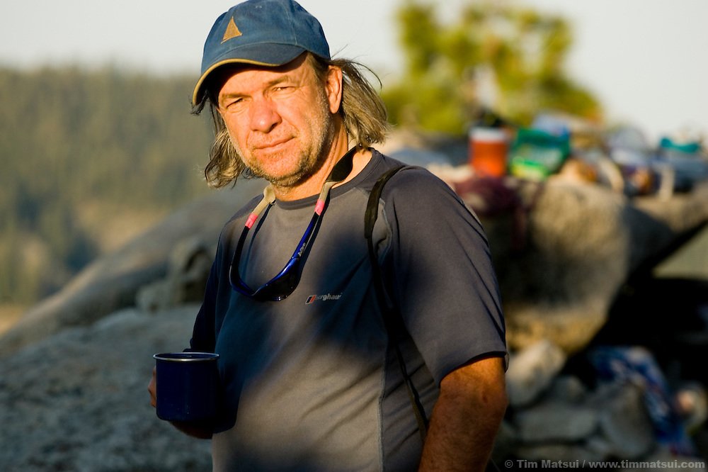 Director Pepe Danquart at dawn on top of El Capitan for the filming of Am Limit, a Lotus Film production, about the climbing brothers Alexander and Thomas Huber and their attempt to break the speed climbing record on the Nose of El Capitan in Yosemite National Park, California, USA.