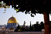 Israel, Jerusalem, Old City, The Gilded Dome of the Rock on Temple Mount