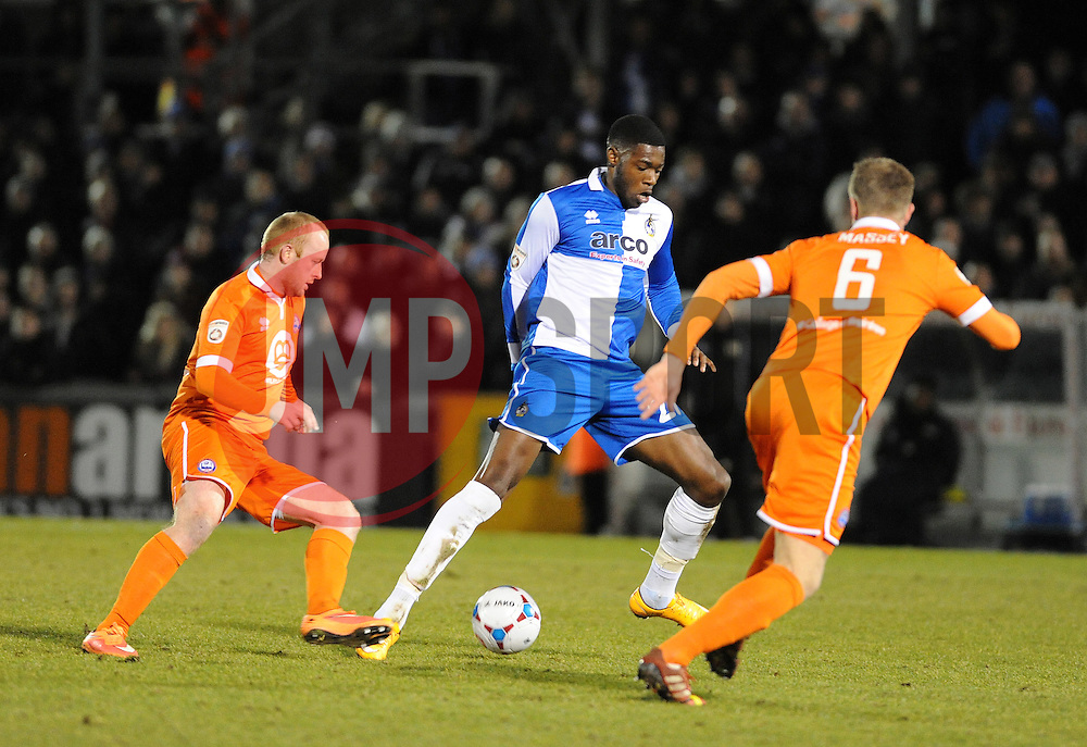 Bristol Rovers' Nathan Blissett  is challenged by Braintree Town's Alan Massey - Photo mandatory by-line: Neil Brookman/JMP - Mobile: 07966 386802 - 24/02/2015 - SPORT - Football - Bristol - Memorial Stadium - Bristol Rovers v Braintree - Vanarama Football Conference